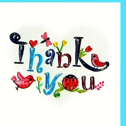 Thank You - Quilling Text  (2 cards/ package) Quilling Card - UViet Store
