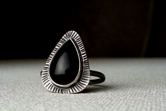 Sterling Silver and Onyx Ring - Erin Austin #Jewelry #Rings