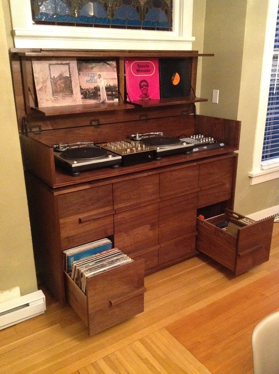 custom made sorenson record cabinet mati re pinterest vinyles meuble dj et stockage de vinyle. Black Bedroom Furniture Sets. Home Design Ideas