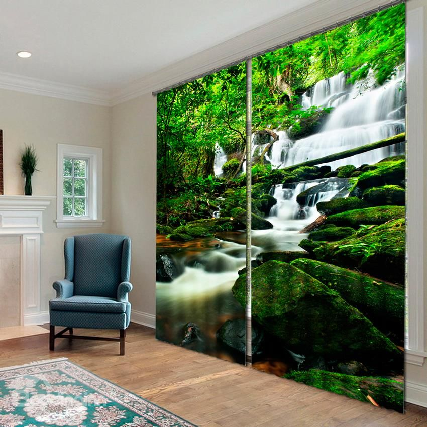 wonderful waterfall 3d effects printing blackout curtain