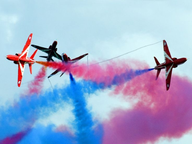BAE Hawk T Mk1 Red Arrows Jet Team acrobatic of Royal Air Force  -- in colored criss-cross