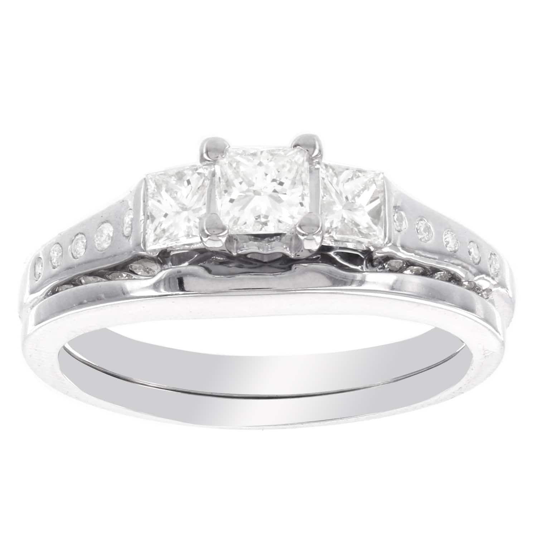 H Star 14k Gold 7 8ct Princess Cut Diamond Bridal Set