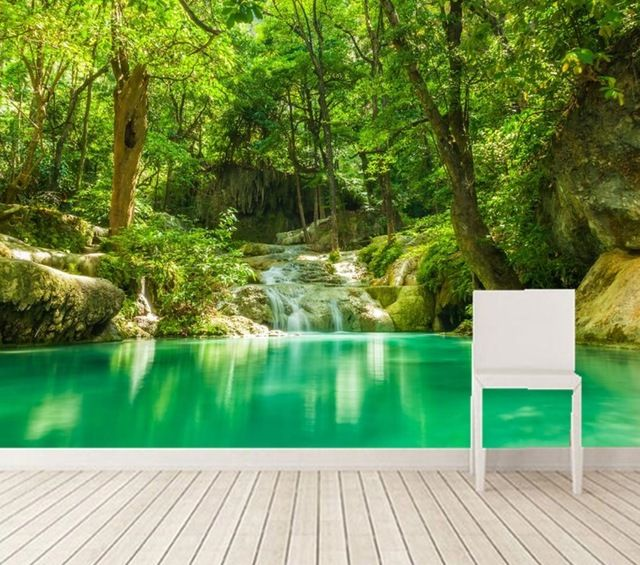 Custom 3d murals tropics forests waterfall trees jungle for Nature wallpaper for living room