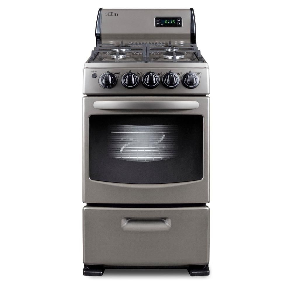 Summit Appliance 20 In 2 62 Cu Ft Gas Range In Gray Pro20 The Home Depot Outdoor Kitchen Outdoor Kitchen Design Outdoor Kitchen Appliances