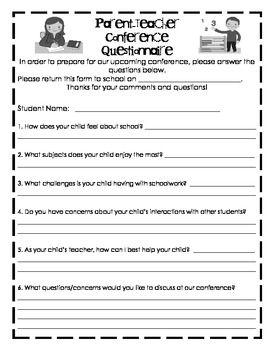Questionnaire for Parent Teacher Conferences | school