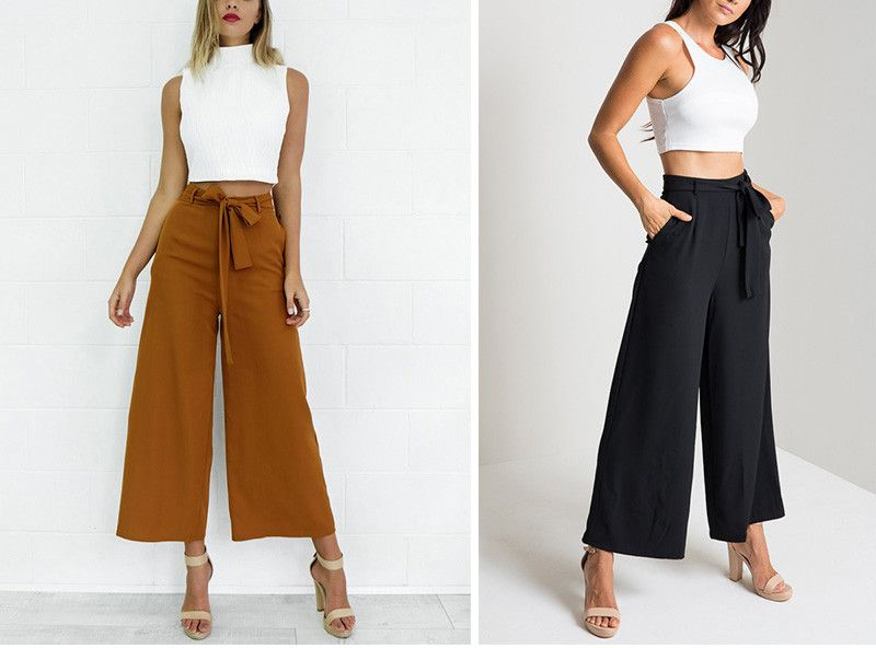 f4a9182d75 Vintage Loose Fit Bow Tie High Waisted Ankle-Length Wide Leg Pants ...