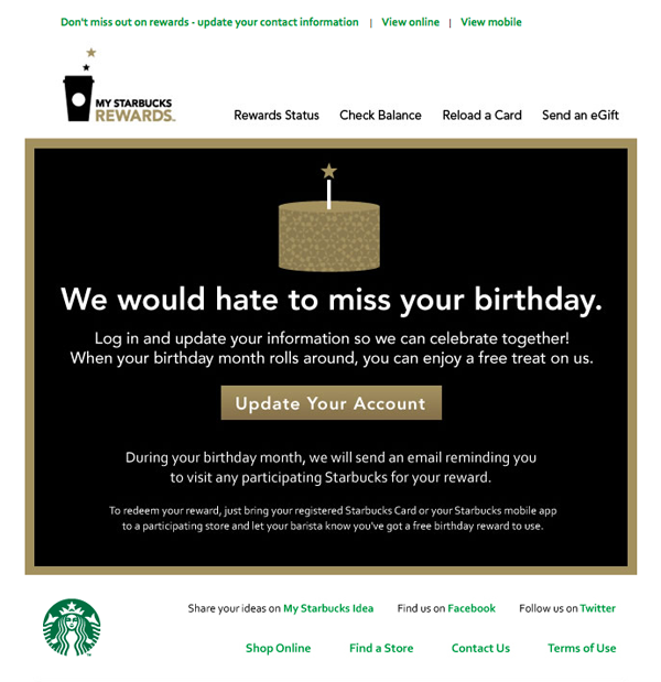 Starbucks We Would Hate To Miss Your Birthday Re Engagement