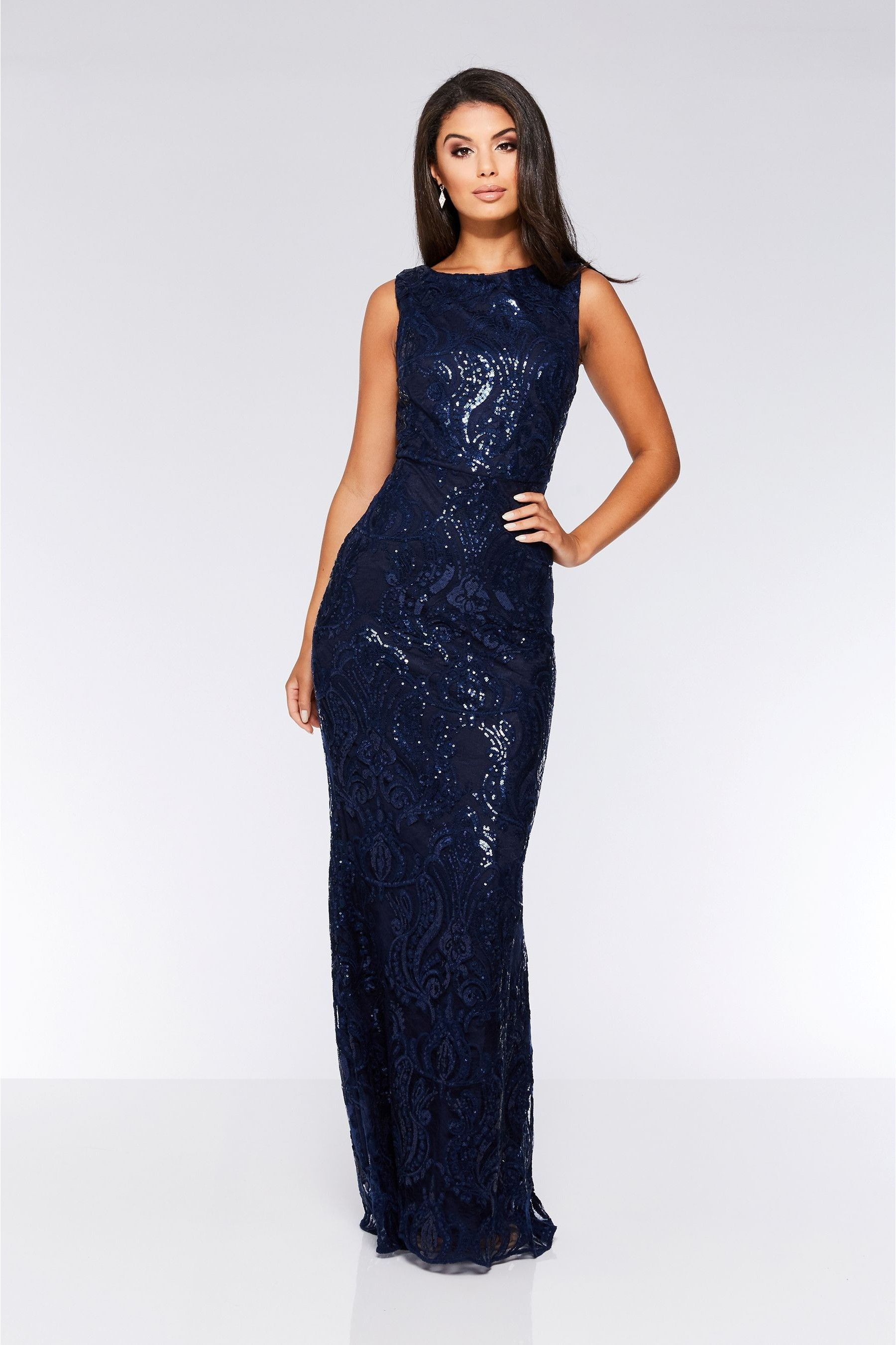 Womens Quiz Sequin Baroque Pattern Sleeveless Maxi Dress Blue Prom Dresses Long Lace Sparkly Prom Dresses Unique Prom Dresses