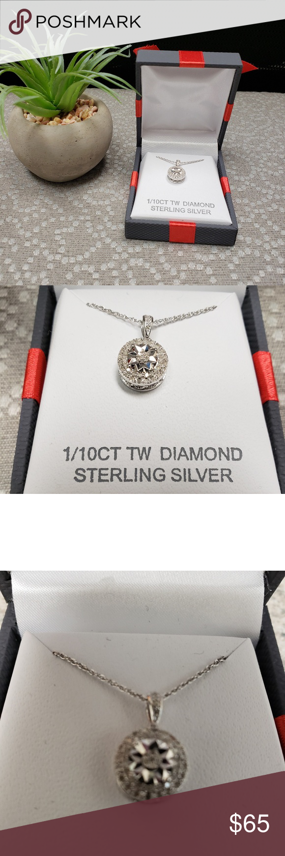 1 10 Ct Tw Diamond Sterling Silver Necklace Jewelry Making Supplies Sterling Silver Necklaces Silver Chain Necklace