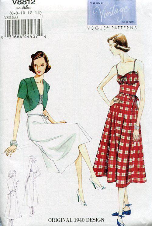 FREE US SHIP Vogue 8812 Retro 1940\'s Dress Sundress Jacket Vintage ...