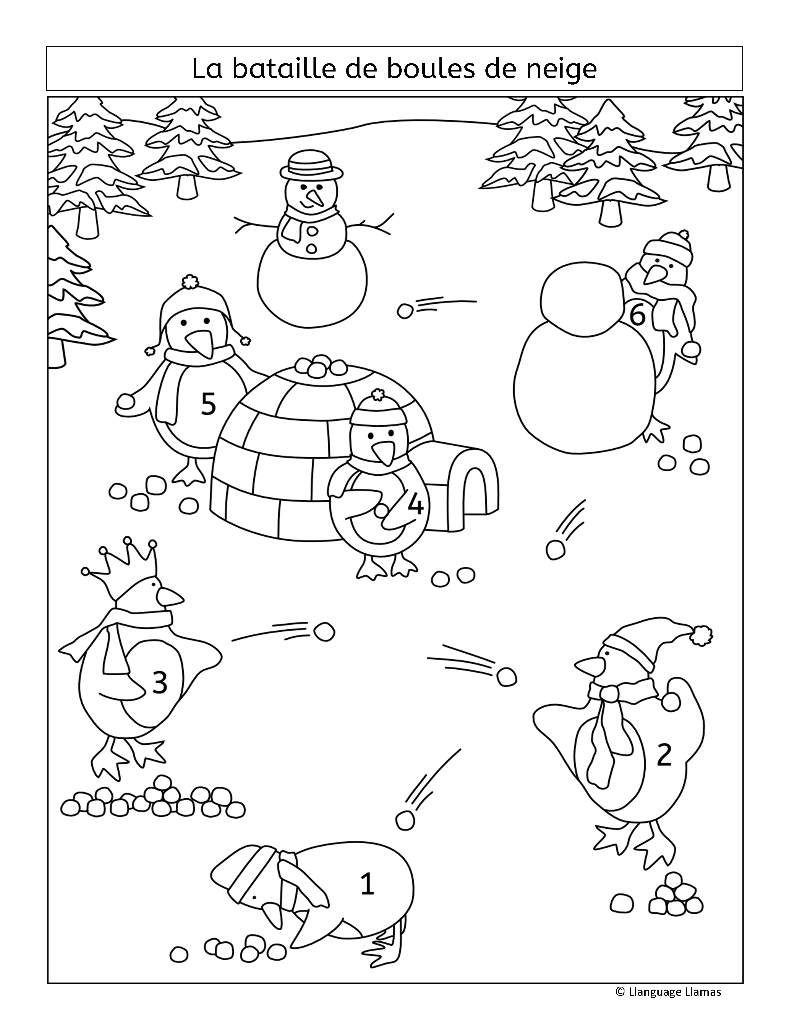 French Winter Activities Numbers Colors And Clothing Hiver Winter Resources Differentiation Activities Winter Activities