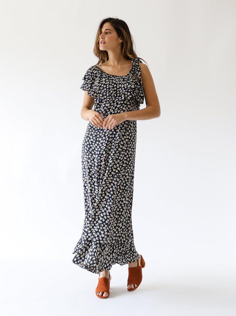84a9ff91 GANNI - Roseburg Crepe Maxi Dress in Total Eclipse | www.shopmille ...