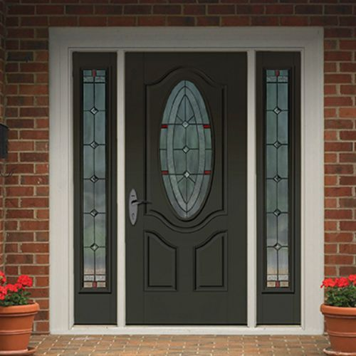 The Therma Tru Smooth Star 3/4 Deluxe Oval Lite 2 Panel Door Features