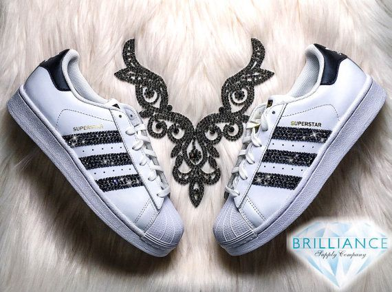 25ce3d017d93 Adidas Superstar Shoes Womens - White   Black Stripes Customized with Black  Swarovski® Crystals Brand New in Box Authentic Adidas Superstar