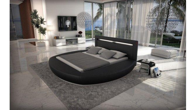 Lit Rond Design X Cm Noir Avec LED Kovel Pinterest - Lit rond 160x200