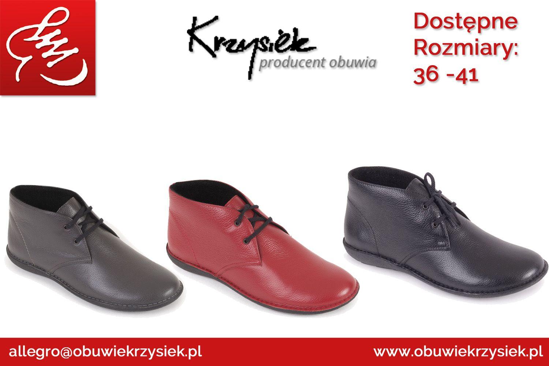 Buty Damskie Skorzane Sznurowane Trzewiki Chukka Boots Shoes Boots