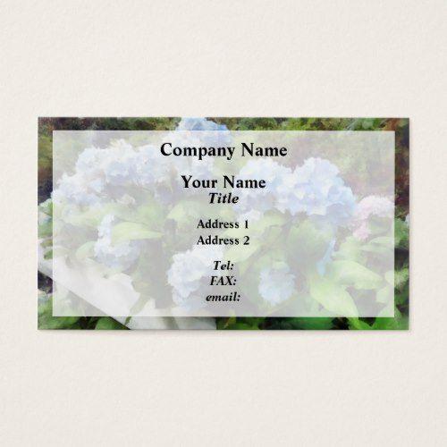 Blue Hydrangea On White Fence Business Card Cloture Blanche Hortensia Bleu Cartes De Visite
