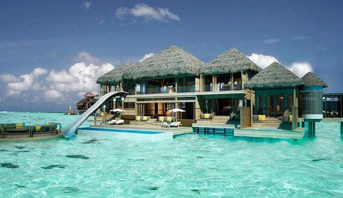 A waterslide, from the second story, not into the beautiful pool but into the ocean. In the Maldives. Heavenly!