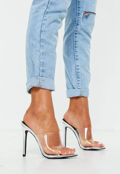 899950a2306 Missguided Silver Pointed Clear Mules | shoes in 2019 | Shoes ...