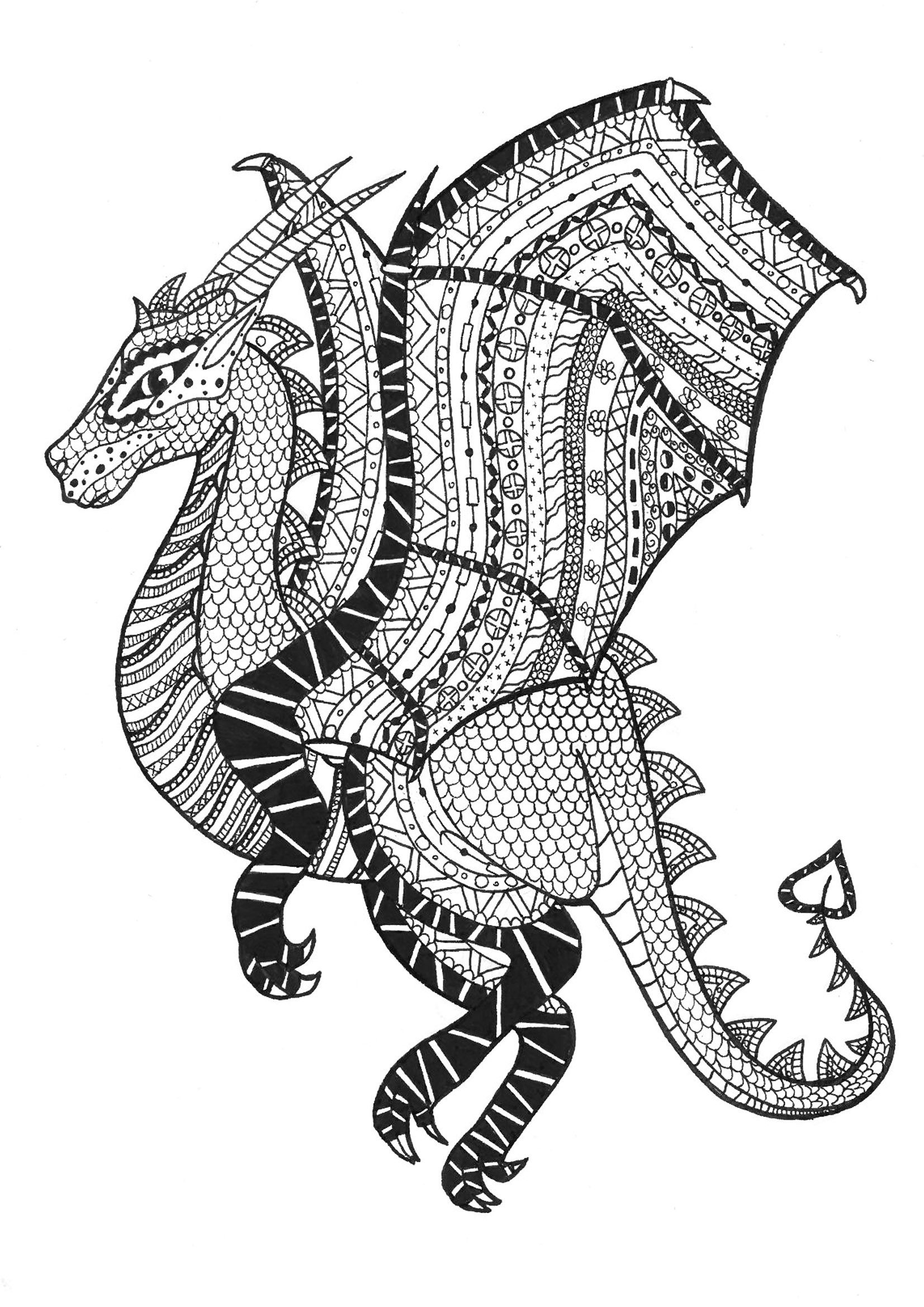 Ausmalbilder Für Erwachsene Drachen : Here Is An Amazing And Dangerous Zentangle Dragon From The Gallery
