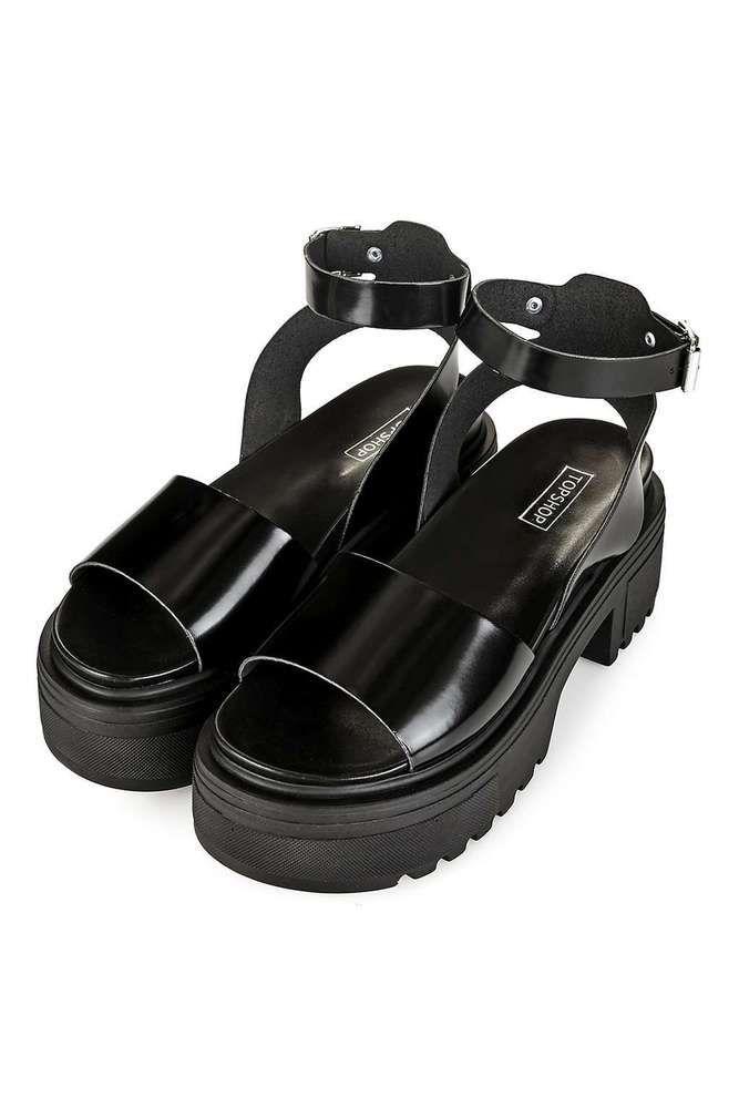 6ae56f8e5663 SIZE 6 UK TOPSHOP WONDER BLACK CHUNKY ANKLE STRAP CASUALWEAR SANDALS RRP  £49.00  Topshop  SandalsPlatformCasual  Party