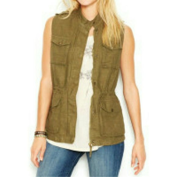 Lucky Brand Vest Lucky Brand Banded-Collar Linen-Blend Vest. Bought but never worn Lucky Brand Jackets & Coats Vests