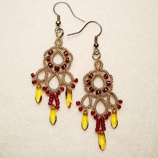 Dream Earrings in tan and brown