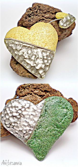 LOVE - Polymer Clay Brooches by Studio Artesania