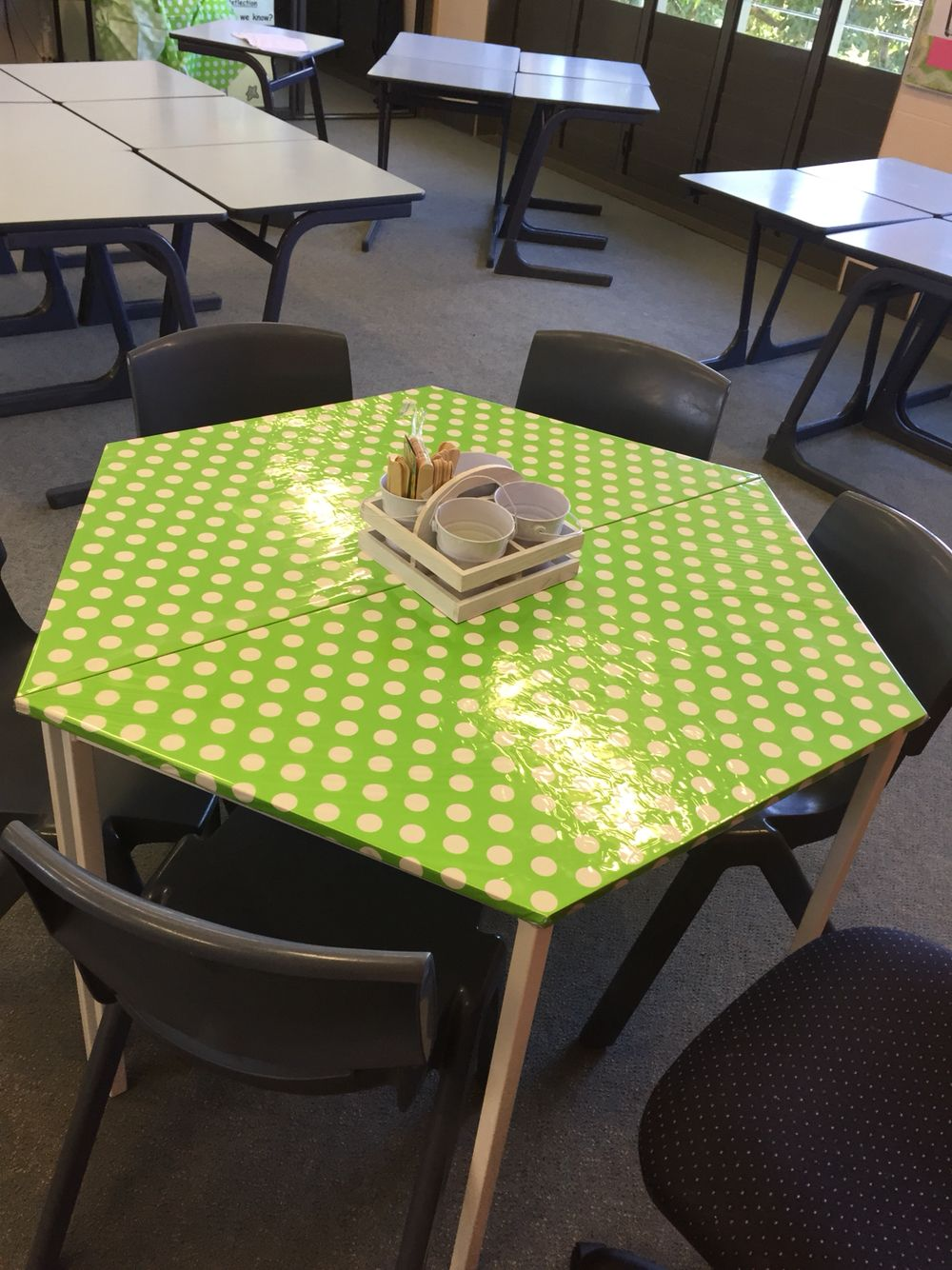 I revamped these two tired tables today at work. I used a ...