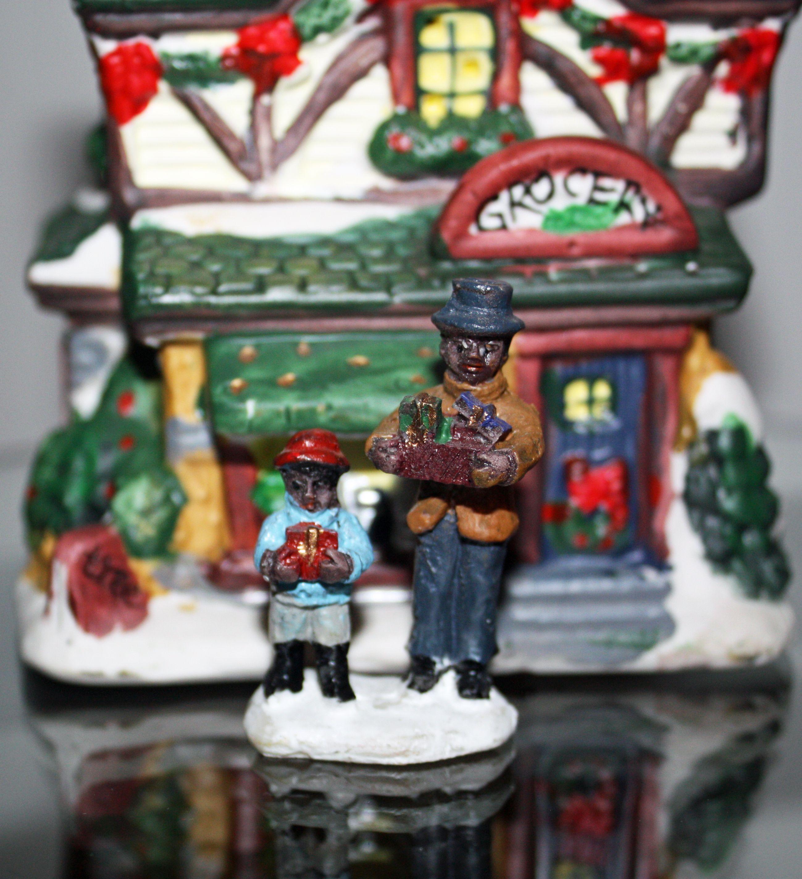Mini Christmas Village Display.Black African American Family Christmas Shopping Mini
