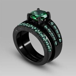 VANCARO Antique Synthetic Emerald Titanium Steel Women's ...