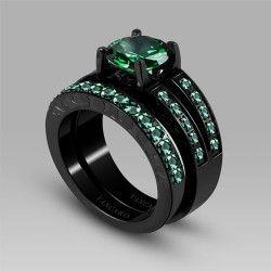 vancaro antique synthetic emerald titanium steel womens black wedding ring set bridal set15900 - Womens Black Wedding Ring Sets
