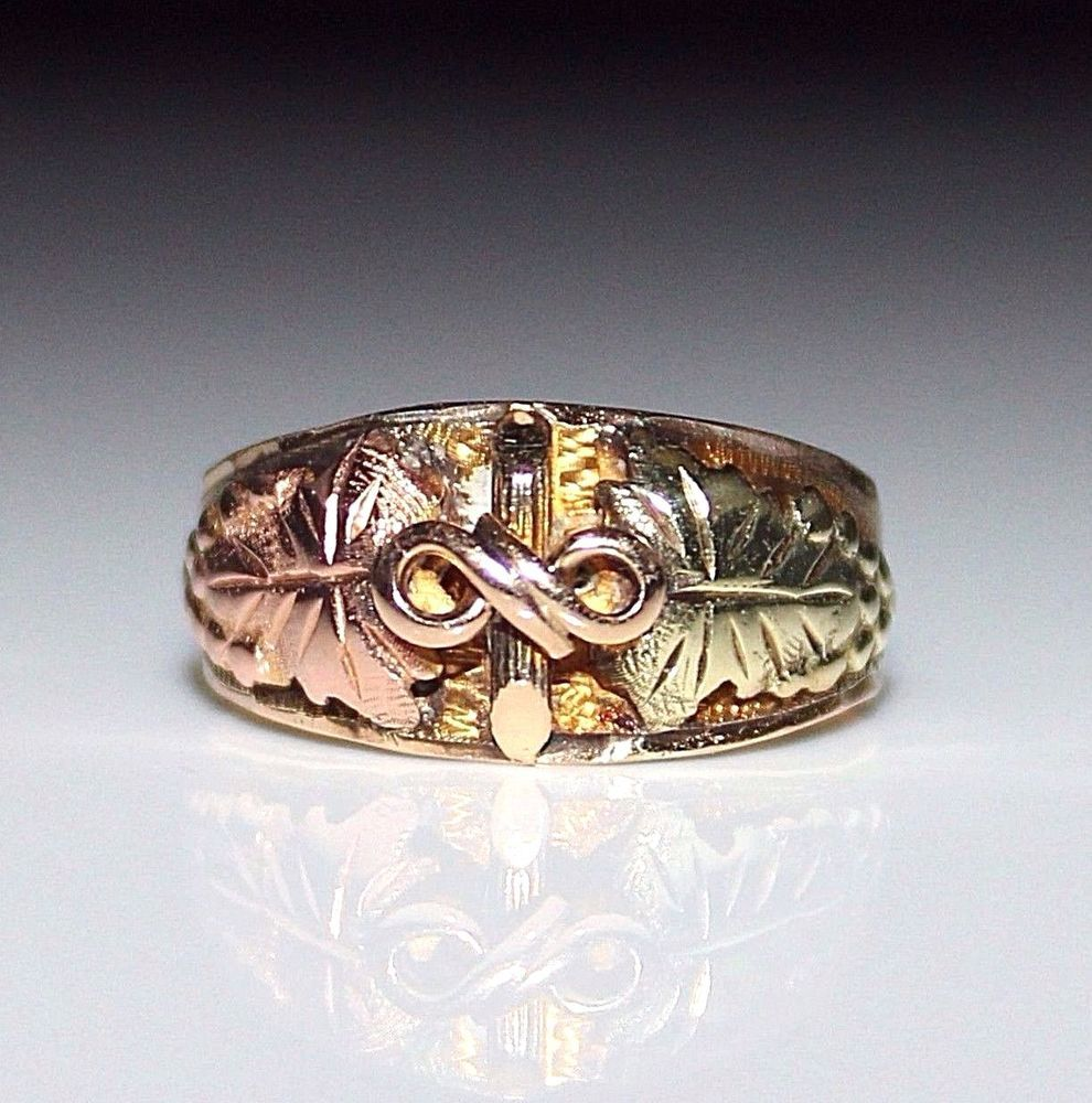 Vintage 10k Black Hills Gold Band Ring Leaf Grape Design Size 6 75 3 Grams Blackhills Band Black Hills Gold Gold Band Ring Band Rings