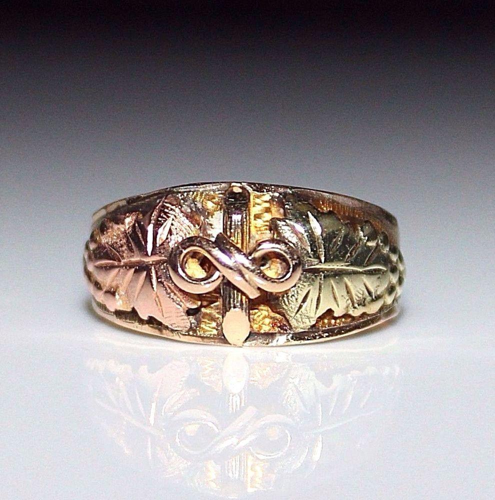 Vintage 10k Black Hills Gold Band Ring Leaf Grape Design Size 6 75 3 Grams Blackhills Band Black Hills Gold Gold Band Ring Band Rings