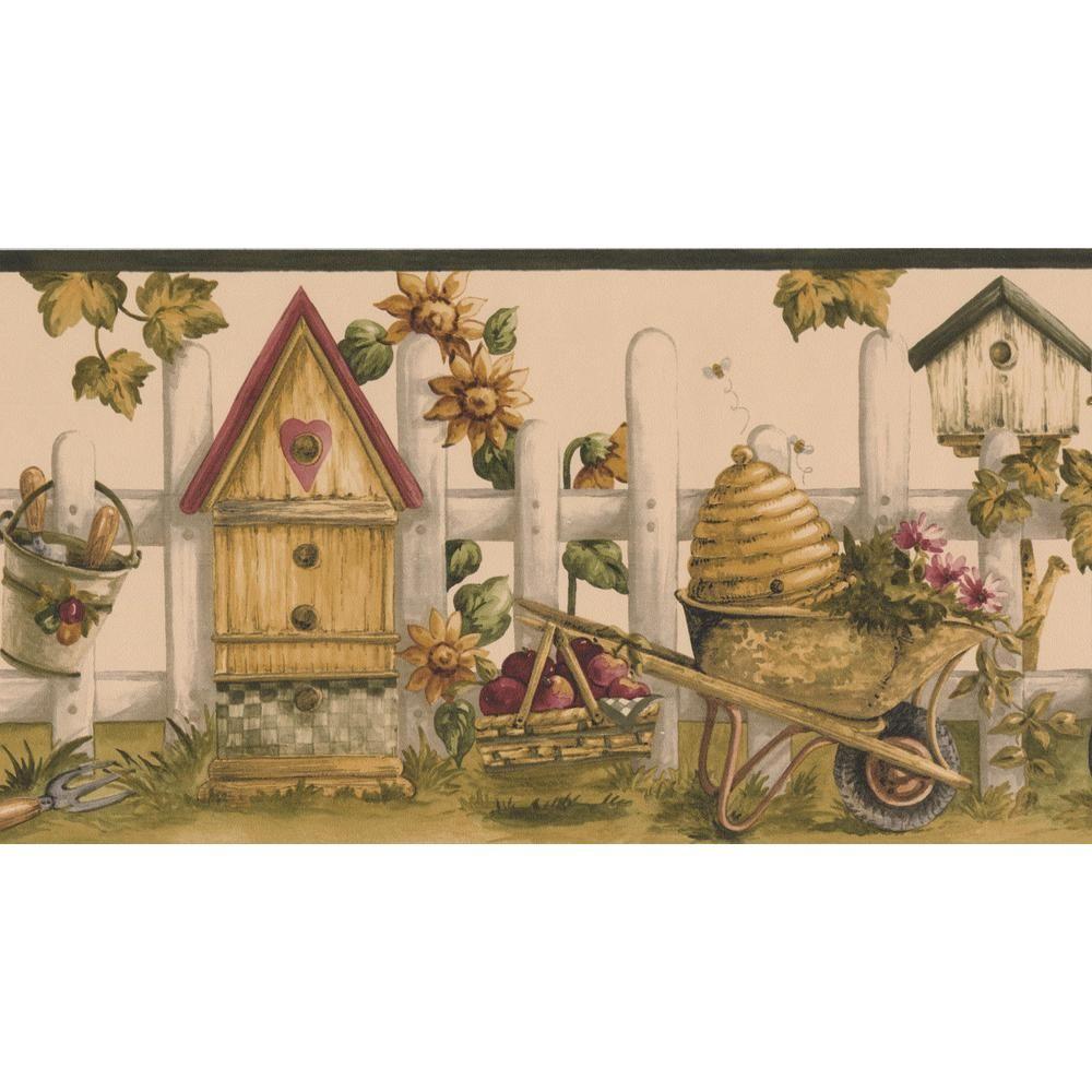 Norwall Vintage Birdhouses Sunflowers Gardening Tools