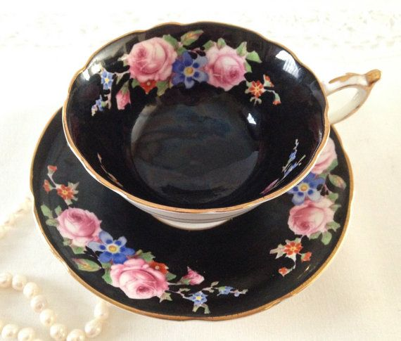Hey, I found this really awesome Etsy listing at https://www.etsy.com/listing/244665121/black-hand-painted-paragon-tea-cup