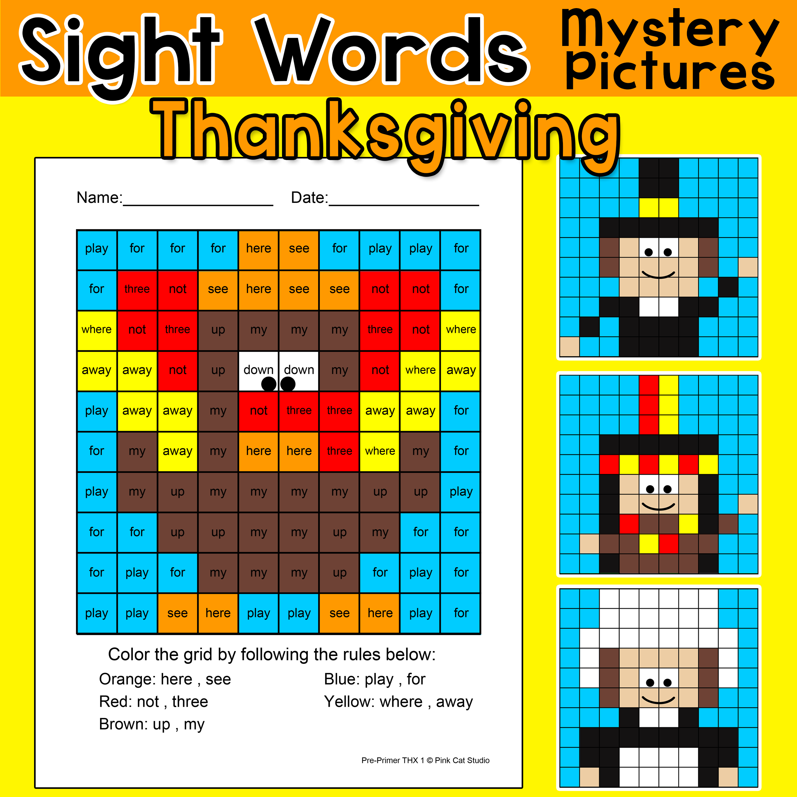Thanksgiving Activities Color By Sight Words Turkey