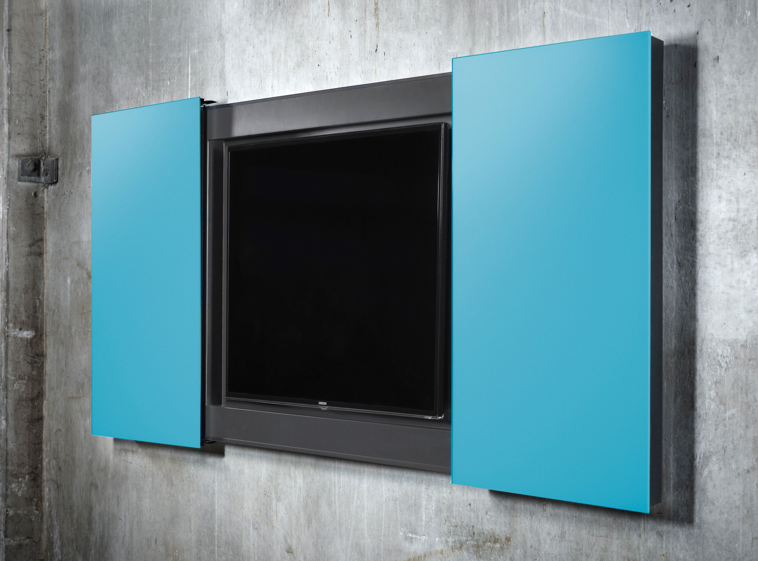 A modern conference cabinet for TV screens. The sliding ...