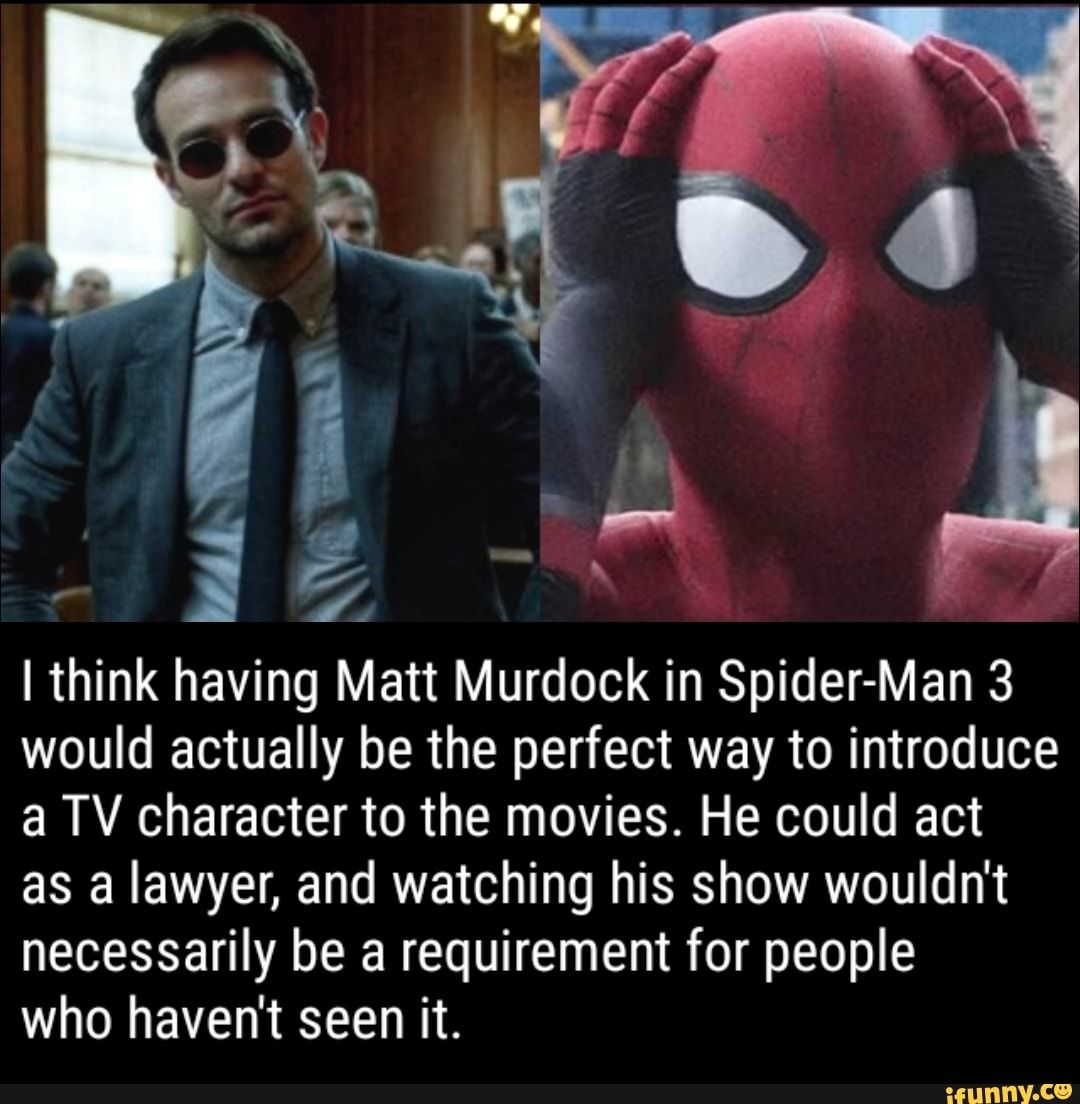 Ithink Having Matt Murdock In Spider Man 3 Would Actually Be The Perfect Way To Introduce A Tv Character To The Movies He Could Act As A Lawyer And Watching H Daredevil