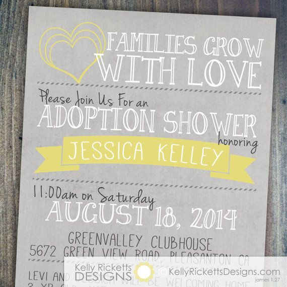 adoption shower invitation - international, private or foster, Party invitations
