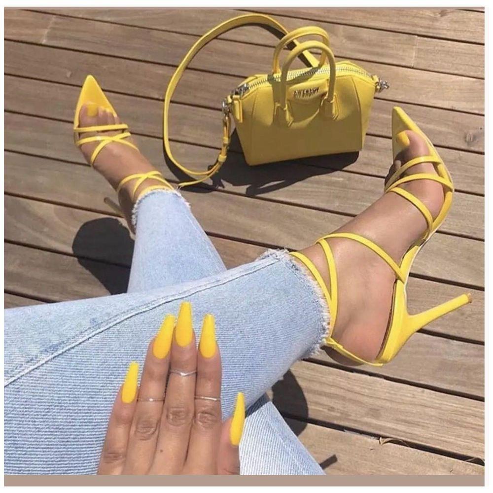 Pin by Christine Drejer on Sko | Stiletto heels, Yellow