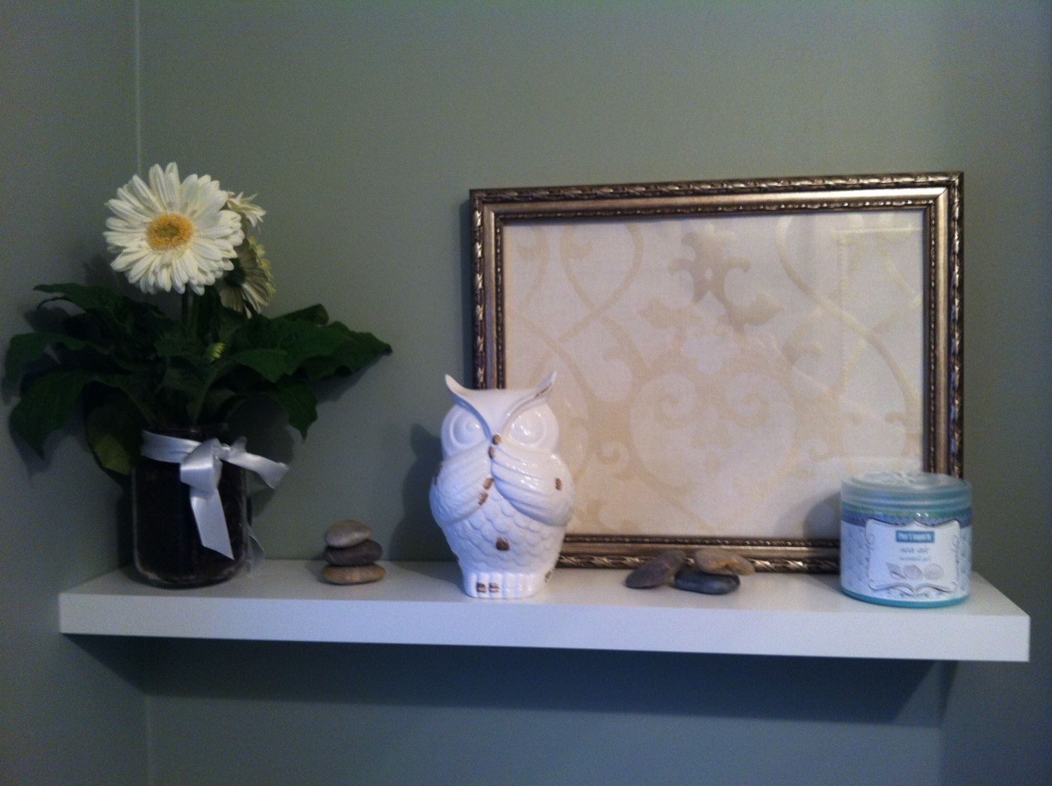 Powder room AFTER 2 my decorative wall shelf to make the