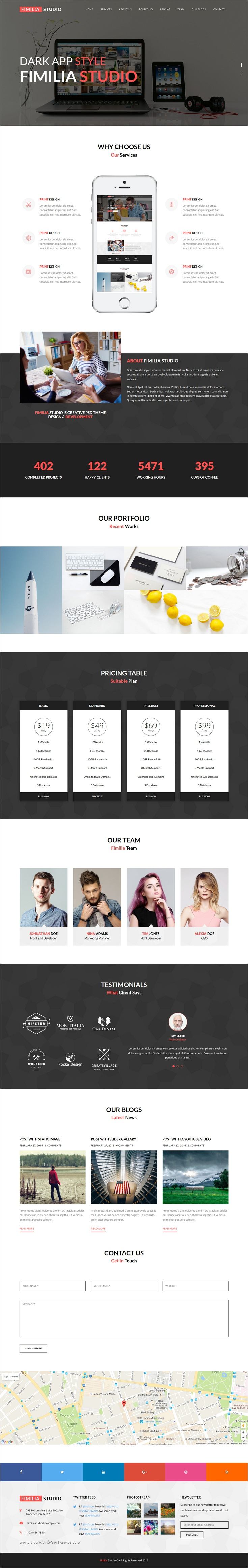 FIMILIA STUDIO - HTML5 Landing Page Template | Personal portfolio ...