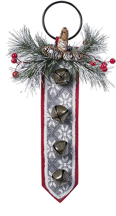 Red Felted Backer with Grey and White Knitted Accent TenWaterloo 20 Inch Christmas Door Hanger with Bells and Snow Tipped Artificial Greenery