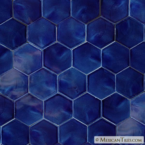 Navy Hex Tile Blue Floor