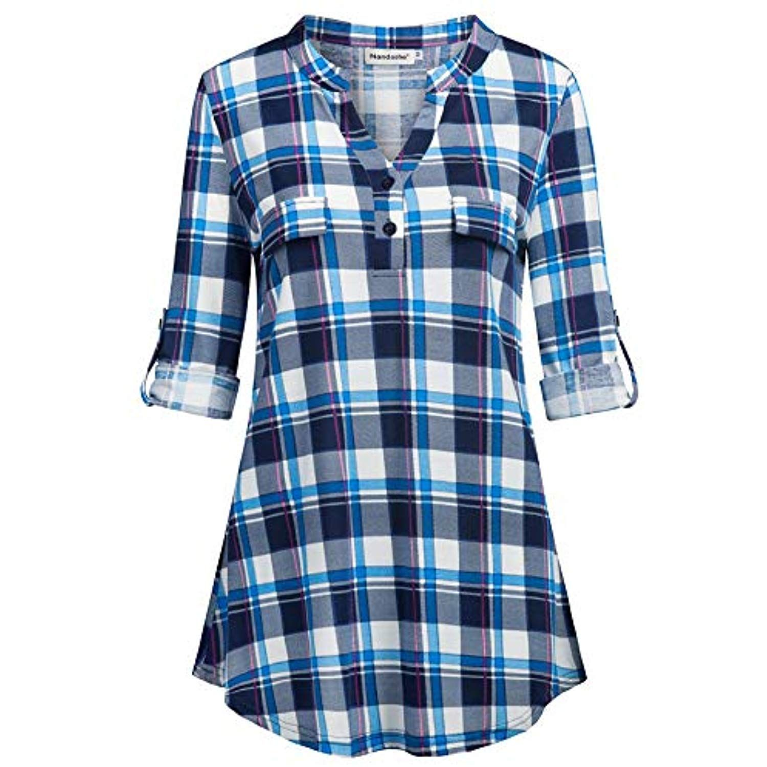 4033f76dac3c7 Womens 3 4 Roll Sleeve Shirt V Neck Button Down Blouse Loose Tunic Tops      Details can be found by clicking on the image. (This is an affiliate link)    ...
