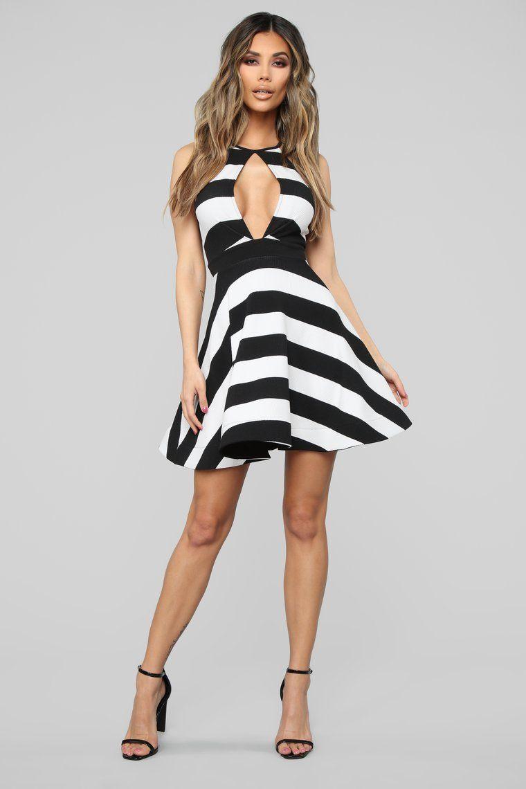 Classy Soiree Stripe Midi Dress Black White Striped Midi Dress Black Midi Dress Midi Dress [ 1140 x 760 Pixel ]