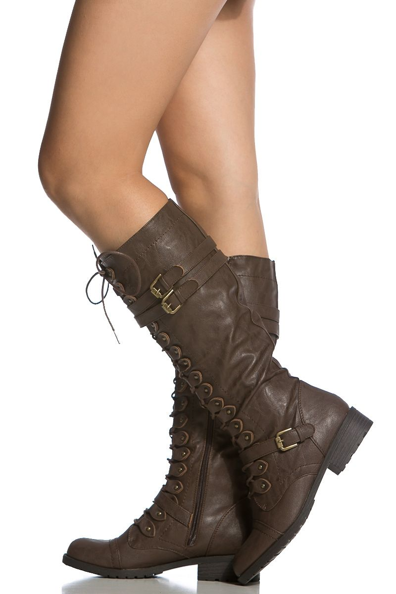 Brown Faux Leather Calf Length Lace Up Combat Boots