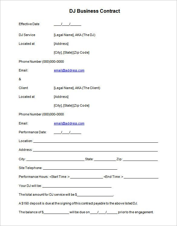 6+ DJ Contract Templates \u2013 Free Word, PDF Documents Download! Free - free business contract templates for word