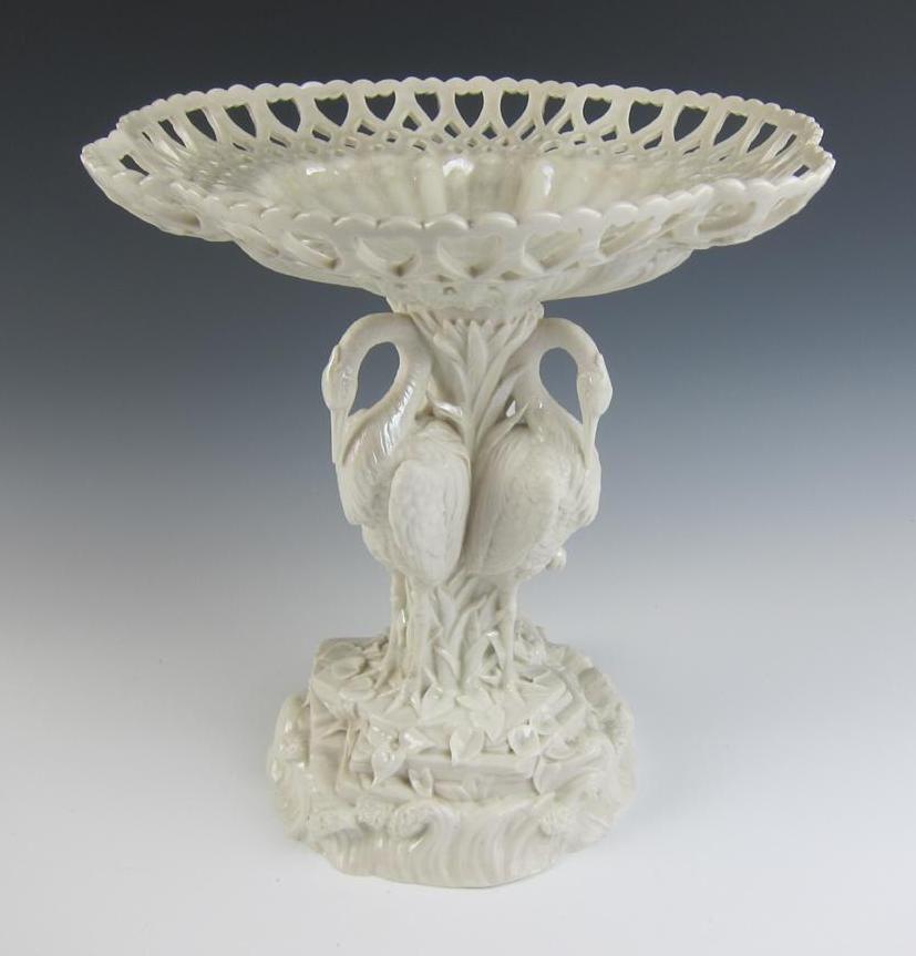 Antique Belleek 1st Period Bittern Centerpiece Comport Irish Porcelain Porcelana